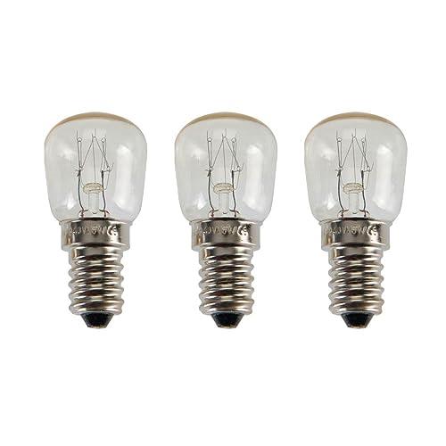 COM-FOUR® 3x lumière du four jusqu'à 300 degrés, blanc chaud, ampoule de cuisinière 15W, E14, SES, 230V, EEK = E - [Classe énergétique E] (03 pièces - argent 15W)