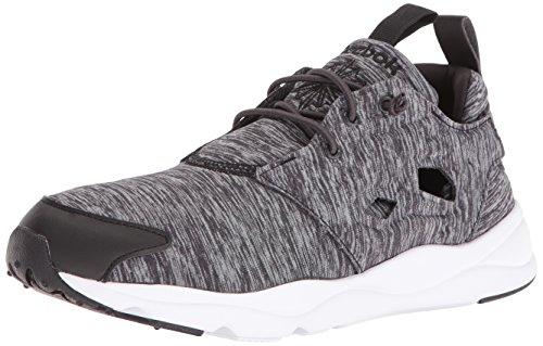 Reebok Women's Furylite Jersey Fashion Sneaker, Black/White, 6.5 M US