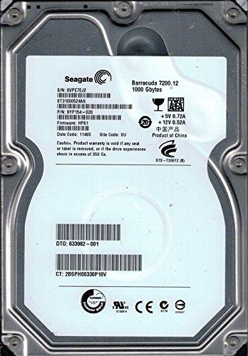 'SEAGATE ST31000524AS P/N: 9yp154–020F/W: HP61SU 1TB