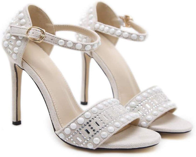 Europe America Rhinestone Open Toe Buckle High Heel Sandals,White,40