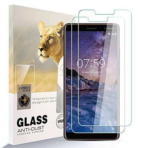 zidwzidwei Protector de Pantalla para Nokia 7 plus [2 Pcs], 9H Dureza Película de Vidrio Templado HD Antihuellas sin Burbujas Fácil de Instalar, Protector de Vidrio paraNokia 7 plus