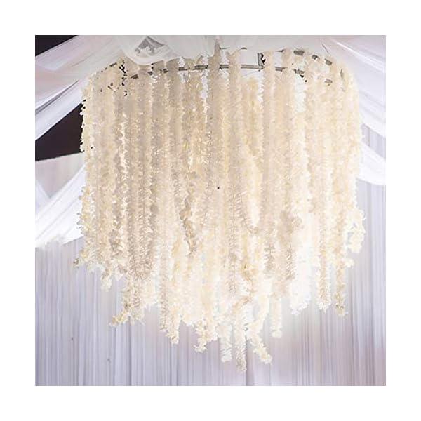KingYH 10 Piezas 100cm Guirnaldas de Flores Artificiales de Seda Flor Hortensia Simulación Wisteria Colgando de Rattan…