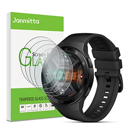 Janmitta für Huawei Watch GT 2e Panzerglas Schutzfolie [4-Stück], 2.5D Panzerfolie 9H Gehärtetem Glass [Anti-Kratzen][Anti-Bläschen] HD Displayschutzfolie mit Huawei Watch GT 2e