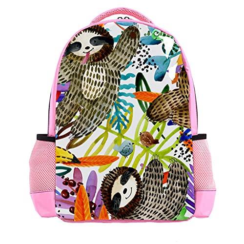 Girl Pink Backpack Women Shoulder Bags College Bookbag Travel Rucksack Watercolor Tropical Cute Sloth Toucan Leaf