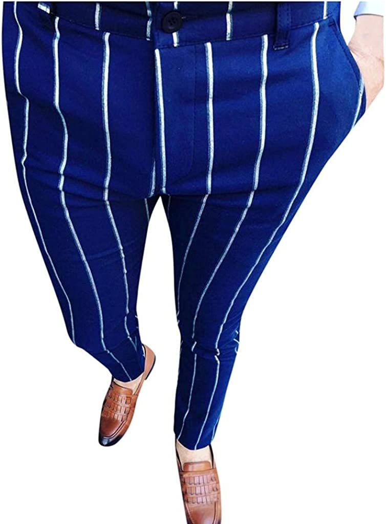 Men's Casual Business Pants Stretch Slim Fit Work Pants Striped Print Casual Long Pants Trousers with Zipper