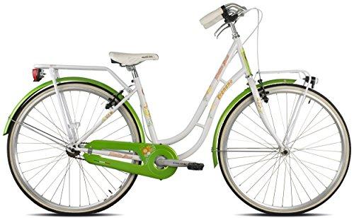 Legnano Ciclo 251 Fenicottero, City Bike Donna, Bianco/Verde, 44