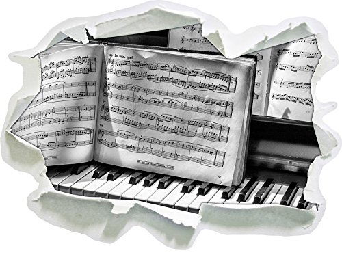 Stil.Zeit Monocrome, Klavier Noten, Nahaufnahme Piano Papier im 3D-Look, Wand- oder Türaufkleber Format: 92x62cm, Wandsticker, Wandtattoo, Wanddekoration