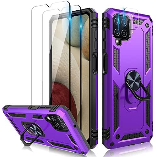 TOCOL Cover Compatibile Samsung Galaxy A12 5G/M12, 2 Pezzi Pellicola Protettiva in Vetro Temperato 2 Pezzi Vetro Fotocamera Custodia 360°Rotante Anello Magnetica Supporto Grado Militare Case, Viola