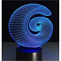 3D LED錯視ランプ 抽象的なスパイラルホールデスクテーブル装飾アクリルパネルステレオ効果夜ライト7色の変更