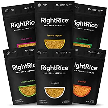 RightRice - Variety Pack  7oz Pack of 6  - Made from Vegetables - High Protein Vegan non GMO Gluten Free
