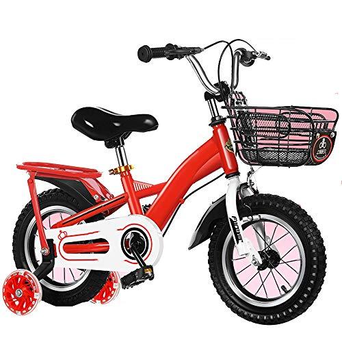 YumEIGE kinderfiets 12 14 16 18 inch voor 2-9 jaar jongen meisjes fiets gemaakt van licht koolstofstaal kinderfiets met trainingswielen met blauwe flits 14in Netto