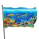 Bandera de jardín El Arrecife de Coral Peces de Colores Azul Mundo Submarino Acuario Tiburón de atún de Dibujos Bandera de Patio de casa Duradera Celebración estacional Bandera de jardín 90x150 cm