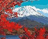 Kit de pintura acrílica de pintura por números, con hojas de arce rojas, nieve y montaña, con pinceles y pigmentos, para niños y adultos, 40,6 x 50,8 cm