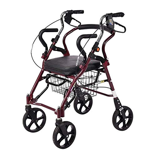 Z-SEAT Walker 2 In 1 Folding Rollator Walker,4 Wheel Medical Rolling Walker With Adjustable Handle and Carry Bag for Adult,Senior,Elderly & Handicap