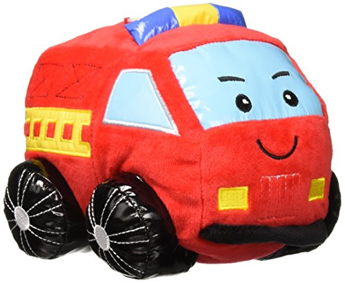 """Linzy Plush Fire Truck Coin Bank with Siren Sound, Red 8"""""""