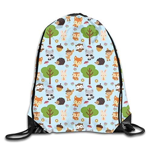 show best Blue Woodland Drawstring Gym Bag for Women and Men Polyester Gym Sack String Backpack for Sport Workout, School, Travel, Books 14.17 X 16.9 inch