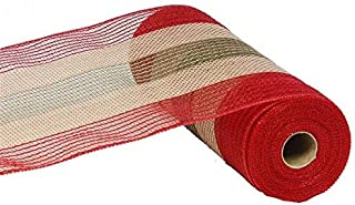 10 inch x 30 Feet Christmas Deco Poly Jute Mesh Ribbon (Natural Brown Red Moss Green Cotton Stripe)