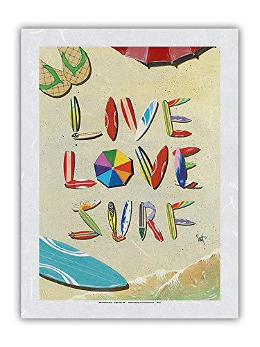 Live Love Surf – Pintura de color de la playa de arena de las tablas de surf Art – Impresión artística de Scott Westmoreland – Primera Unryu papel de arroz impresión artística 31 x 41 cm