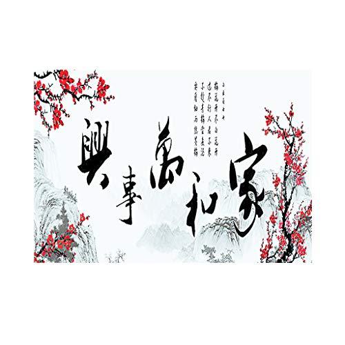 Homyl Fond Aquarium 3D HD Style Chinois Paysage Affiche Fond de Reservoir de Poissons - L