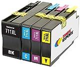 TONER EXPERTE® 4 XL Cartuchos de Tinta compatibles con HP 711 711XL para Impresoras HP DesignJet T520 T120 CZ129A CZ130A CZ131A CZ132A | Alta Capacidad