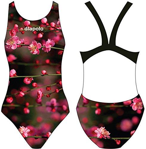 Diapolo Blossom Flower Costume da bagno dalla collezione Spring per nuoto sincronizzato Nuoto pallanuoto thriathlon, normale Träger, S