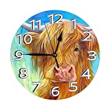 kasonj Highland Cow Turquoise Green And Blue Modern Mute DIY Frameless Large Wall Clock Ideal for Any Room in Home Dining Room Kitchen Office School