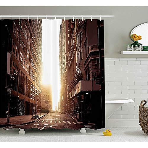 ASDAH Cityscape douchegordijn New York Street met hoge wolkenkrabbers bij vroege ochtend zonsopgang Manhattan View doek stof badkamer Decor Set met haken Umber Cream 66 * 72in