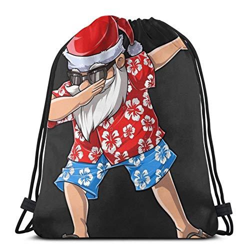 Drawstring Backpack Bags Dabbing Santa Hawaiian Claus Christmas Dab Xmas Drawstring Backpack Gym Sack Cinch Bag String Bag 36X43CM