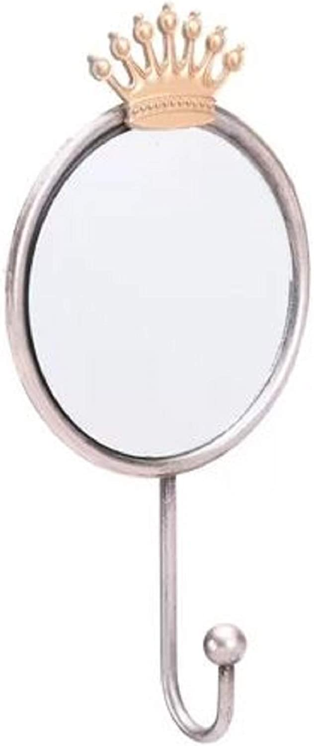 House Decoration Modern Accent Mirror. Round Upminster Crown House Decoration Modern Accent Mirror with Hook in Fox Motif Made of Steel Wall Mounted