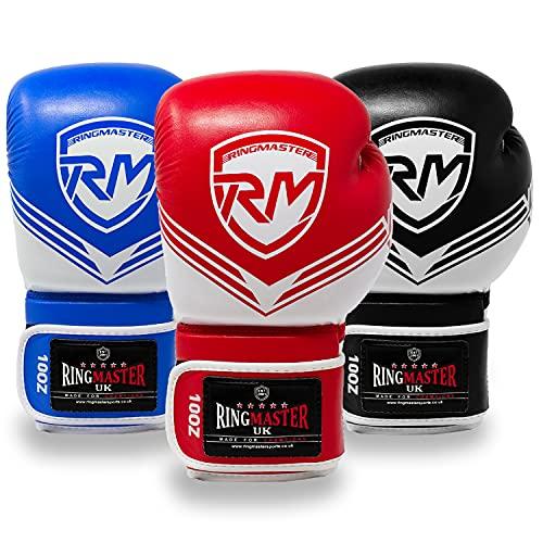 RingMasterUK - Guantes de boxeo para boxeo (8 onzas)