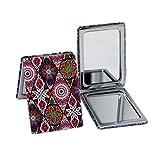 Espejo de Bolsillo Compacto para Maquillaje Espejo Plegable de 8,5 x 6 cm Portátil para Viaje (Color 3)