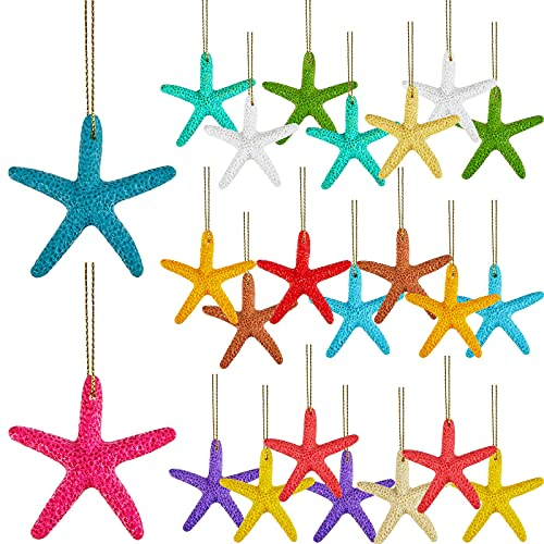 42 Pieces 2.36 Inches Resin Pencil Finger Starfish with Rope Resin Starfish Assorted Finger Resin Starfish Hanging Ornaments Beach Ornaments for Christmas Party Wedding Home Decor DIY Craft Project