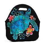 Yuanmeiju bolsa del almuerzo Sea Turtle With Flowers Panier repass For Women Insulated Reusable bolsa del almuerzo Cooler Tote Box Meal Prep For Men & Women Work Picnic Or Travel