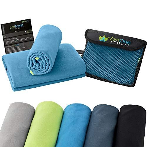 ZenTowel Mikrofaser Handtuch I Leicht & Saugfähig I Premium Fitness Handtuch I Ideal als Sporthandtuch, Reisehandtuch & Strandhandtuch (50 x 110 cm, Blau)