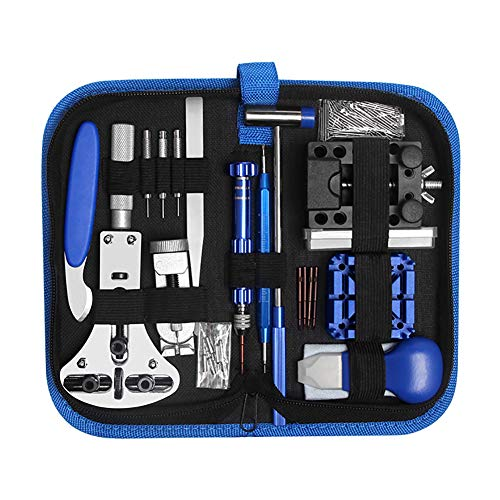 Ironhorse Kit de herramientas de reparación de relojes profesionales de 185 piezas, abridor de caja de reloj, removedor de enlaces, destornillador, relojero, herramientas de cambio de batería
