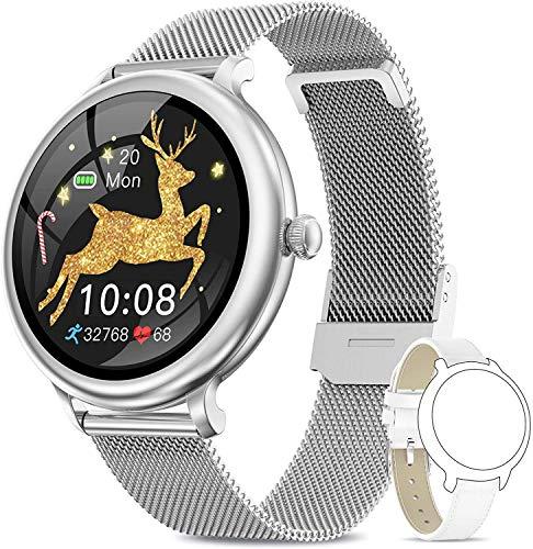 AIMIUVEI Smartwatch Damen,Fitness Tracker IP68 Wasserdicht Smart Watch mit Aktivitätstracker Schlafmonitor,Sportuhr Fitnessuhr Pulsuhren Schrittzähler Uhr für iOS Android Handy