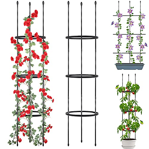 Garden Trellis, 2 Pack Shaped Plant Support, 48' Tomato Cages for Garden,...