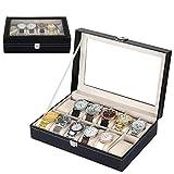Mbuynow Caja de almacenamiento de aluminio con 12 rejillas para relojes y joyas, con soportes para almohadas