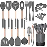 Silicone Cooking Utensil Set, Fungun 24pcs Silicone Cooking Kitchen Utensils Set, Non-stick Heat...