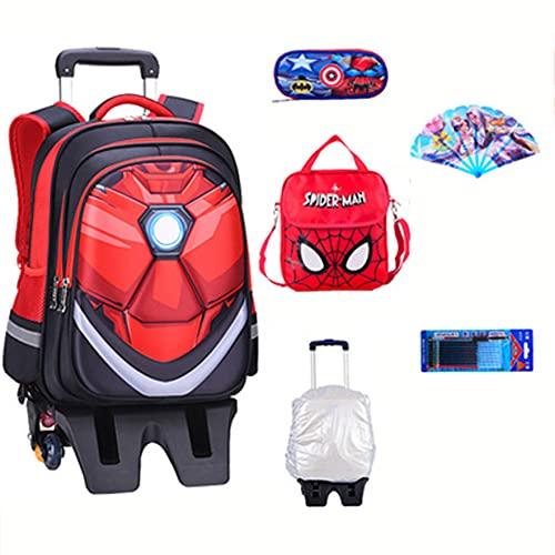 XNheadPS Spiderman Kids Suitcase Boys Trolley Bags Bolsa de Cabina con Ruedas y asa Extensible para Viajes Mochilas Sleepovers Mochila Escolar Vacaciones,Iron Man-41 * 32 * 17cm