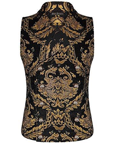 Devil Fashion Hombre Chaleco Negro Oro Damasco Gótico Steampunk Aristocrat - Negro, L