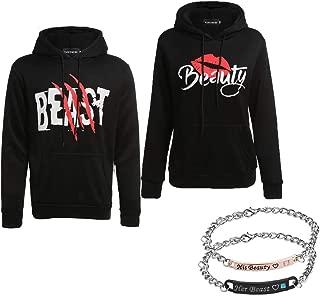 YJQ Beauty and Beast Matching Couple Hoodie Sweatshirts & Couple Braceletes