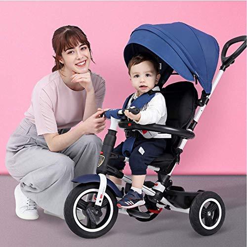 HYLH Trike Kinder Dreirad, Kinder Dreirad 3 Rad 2 In 1 Kinder Kinder Trike Pedal Dreirad Kinder Kinder Smart Design Eltern Lenker, Blue