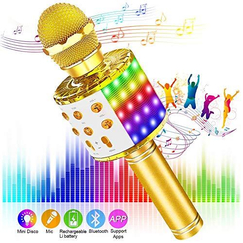 SaponinTree Karaoke Mikrofon, Bluetooth Mikrophon mit Aufnahme, Dynamisches Licht Drahtlose Tragbares Handmikrofon mit Lautsprecher für Erwachsene und Kinder, Kompatibel mit Android IOS PC (Gold).