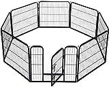 """BestPet Pet Playpen 8 Panel Indoor Outdoor Folding Metal Protable Puppy Exercise Pen Dog Fence,24"""",32"""",40"""" (32"""", Hammigrid)"""