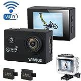 WiMiUS 1080P Action Kamera HD Action Cam WiFi Actioncam 2 Zoll wasserdichte Helmkamera mit Akkus,...