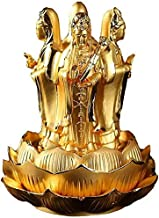Alloy Resin Feng Shui Guanyin Statue Decoration Crafts Lotus Four Sides Guanyin Buddha, for Car Office Statue Decoration H...