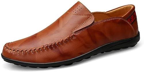 Willsego Mocassins pour Hommes, Mocassins de Conduite Conduite Conduite pour Hommes Mocassins Slip-on Comfort à Semelle de Loisirs, Chaussures légères doublées de Cuir (Couleur  Brun Rouge, Taille  43 EU) 745