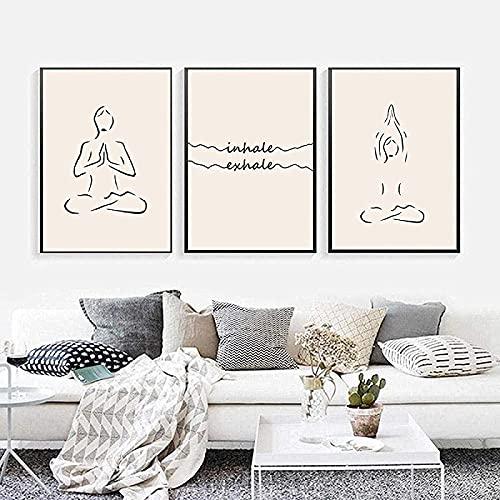 Lienzo Cuadros 3 Piezas Minimalista LíNea Cuerpo Poster Impresiones Yoga Poster Lienzo Cuadros Pared Arte Para Sala Hogar Decoracion Sin Marco-30×40cm×3pcs