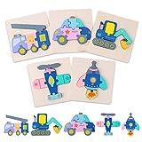 Ulikey 5 Piezas Puzzles de Madera Juguetes para Bebes, Montessori Educativos Rompecabezas Transporte Juegos para 1 2 3 4 5 Año Niñas y Niños, Infantile Regalo de Cumpleaños Preescolar de Aprendizaje